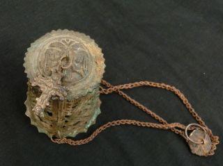 Antique Byzantine Medieval Triple Chained Orthodox Censer Lampada - Rare photo