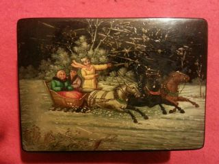 Vintage Russian Lacquer Boxtroika Scene Cgeraho G Cccp Wooden Soviet Union Box photo