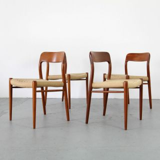 4 Chairs Mod 75 By Niels O.  Møller W/ Papercord Denmark 60s | 4 Teak Stühle 60er photo