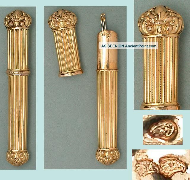 Antique Solid 20 Kt Gold Needle Case French Hallmarked 1838 Needles & Cases photo