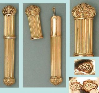 Antique Solid 20 Kt Gold Needle Case French Hallmarked 1838 photo