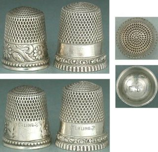 2 Antique Sterling Silver Thimbles By Stern Bros.  & Co.  Circa 1890s photo