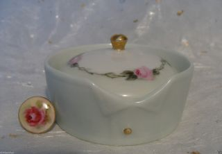Antique German Hand Painted Porcelain Stud Collar Button Box Germany Rosenthal photo