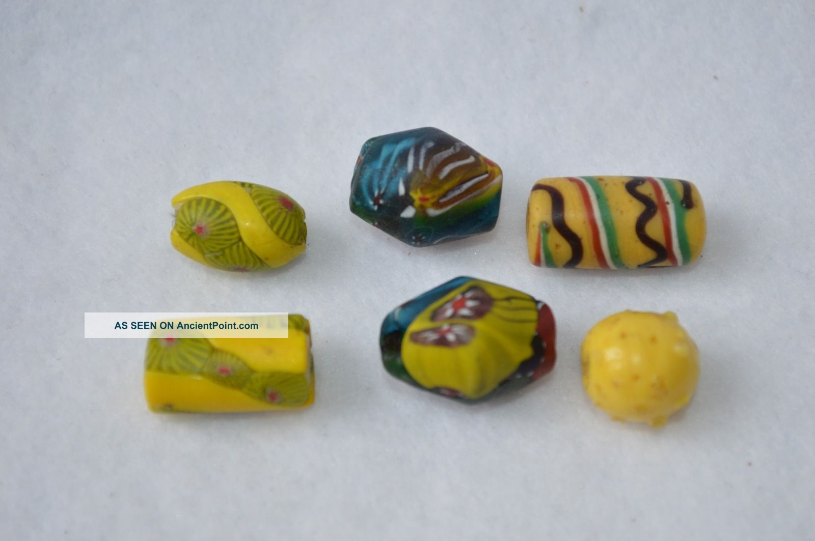 Antique Old Millefiori Venetian Glass Trade Beads Blue Red Yellow Flowers Stripe African photo