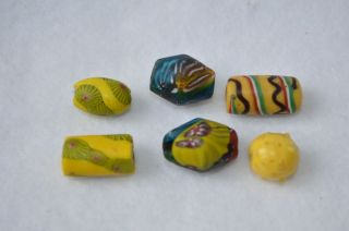 Antique Old Millefiori Venetian Glass Trade Beads Blue Red Yellow Flowers Stripe photo