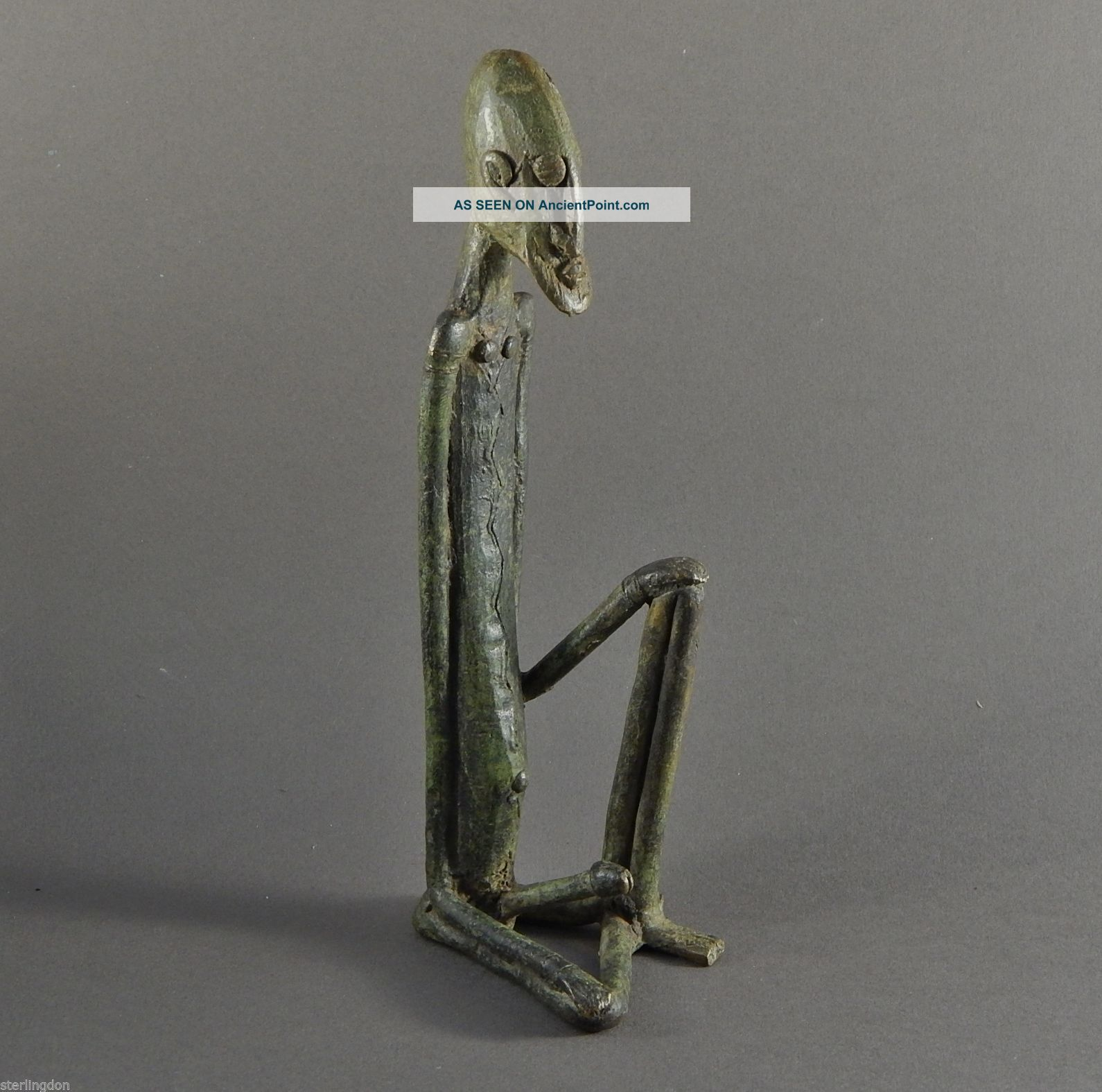 Stunning African Burkina Faso Area Bronze Male Figure Of Exagerated Proportions Sculptures & Statues photo