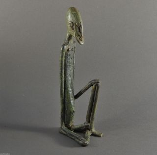 Stunning African Burkina Faso Area Bronze Male Figure Of Exagerated Proportions photo