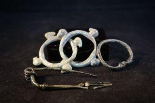 British Iron Age Brooch,  Continental Celtic Ring Money,  Small Roman Bracelet photo