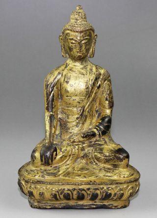 Ancient Chinese Bronze Carved Bronze Buddha Statue J060161 photo