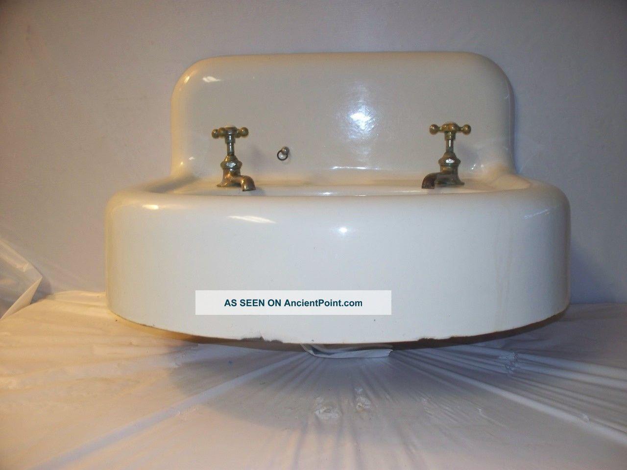 ... Cast Iron Bathroom Sink - Wall Mount - High Backsplash Sinks photo 1