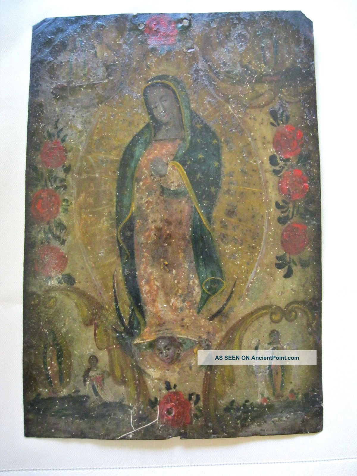 Antique Retablo On Tin With The Image Of Our Lady Of Guadalupe Latin American photo