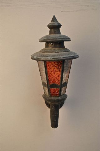 Vintage Stained Glass Moroccan Moorish Wall Light Shade Coloured Glass Lamp R20 photo