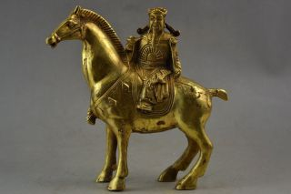 Old Copper Carve Horse Carry The God Of Wealth Immediately Get Rich Lucky Statue photo