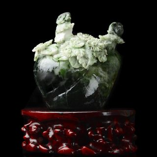 Hand Carved Natural Dushan Jade Statue - - - Flowers & Snail V4 photo