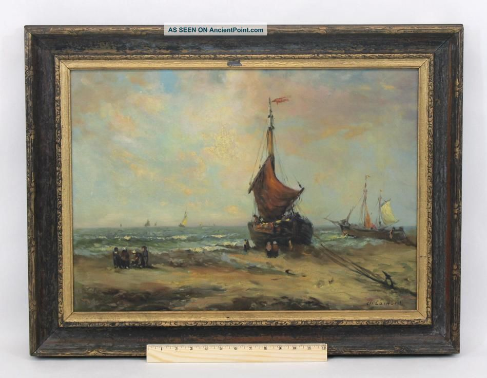 Antique Charles Lambert,  French Fishing Boat Beach Impressionist Oil Painting Nr Other Maritime Antiques photo