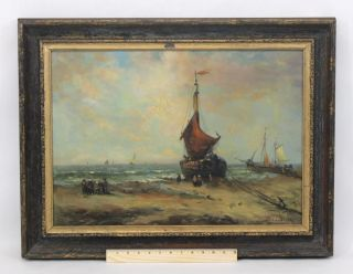 Antique Charles Lambert,  French Fishing Boat Beach Impressionist Oil Painting Nr photo