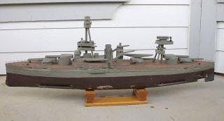 Antique Vintage Motorized Wooden Wood Model Uss Texas Battleship Pond Boat photo
