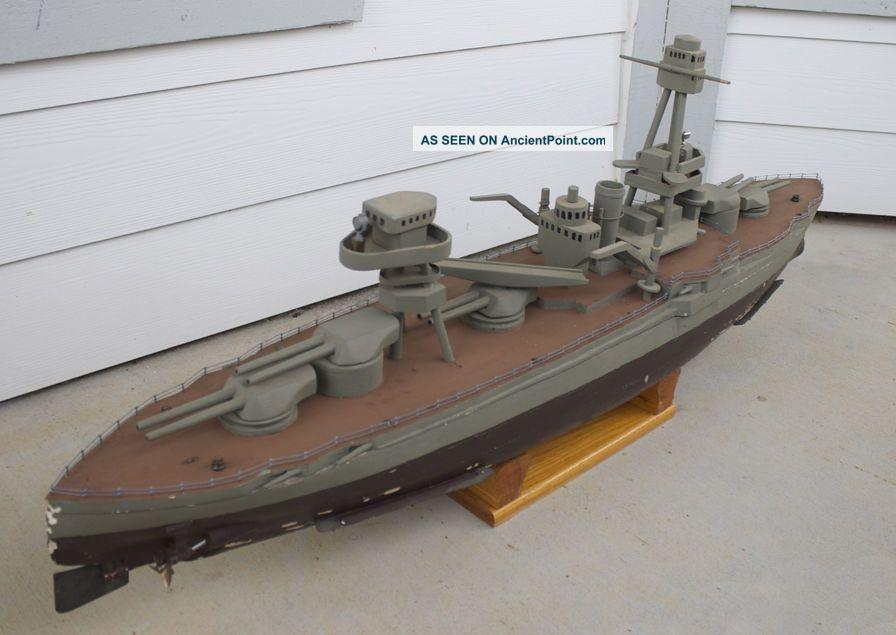 Antique Vintage Motorized Wooden Wood Model Uss Texas Battleship