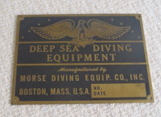 Dive Helmet Brass Plaque Deep Sea Maritime Diving Helmet Nautical Morse Scuba photo