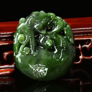 Rare Natural Green Hetian Jasper Hand - Carved Statue —— Lingzhi & Pixiu & 福 photo