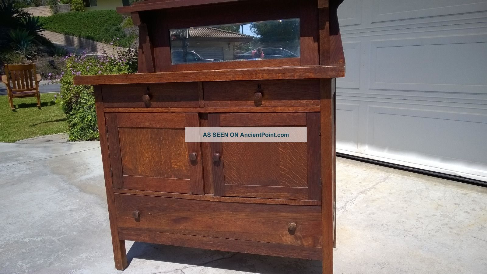 Antique American Mission Oak Arts & Crafts Server Buffet Craftsman Cabinet 1900-1950 photo