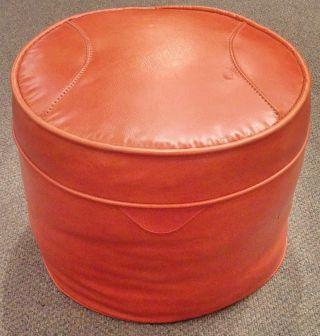 Vintage Mid Century Modern Round Orange Vinyl Hassock Foot Rest Stool Ottoman photo