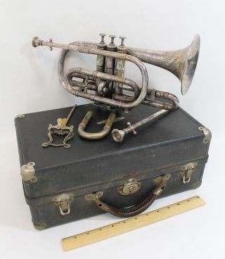 antique 1890s Boston Musical Instrument Co.  Ne Plus Ultra Silver Coronet photo