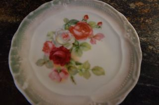 1900 ' S Tea Tile/trivet - Lush Cabbage Roses - Pink,  Red,  White - Vg - Delightful photo