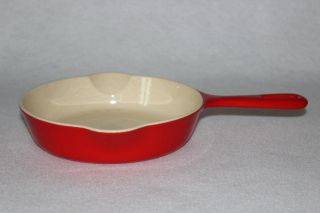 Vintage 1950 ' S Griswold P/n 702 Flamingo Red Porcelain Size 4 Skillet photo
