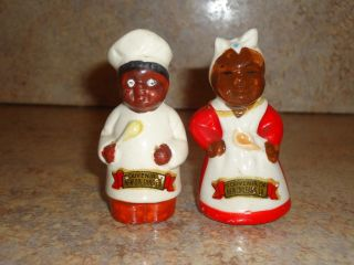 Old Black Americana Mammy & Chef Salt & Pepper Shakers photo