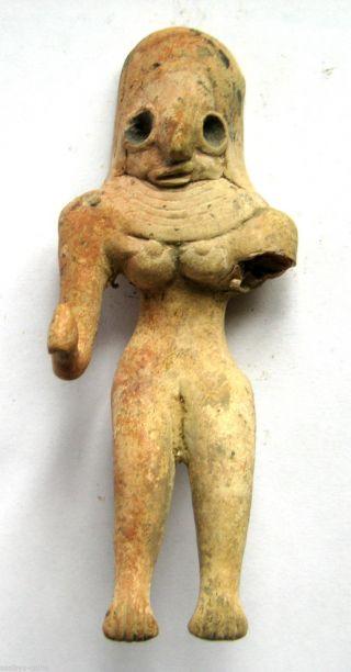 Circa.  2500 B.  C Bronze Age Harappan Culture Mother Goddess Terracotta Statue Idol photo