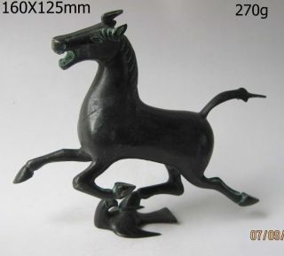 Oriental Rare Exquisite Old Chinese Bronze Statue Horse Fly Swallow Figures photo