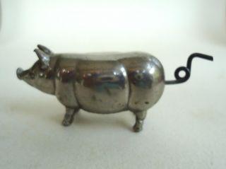 Silver Metal Figural Pig Silk Tape Measure Pat Aug 25,  1896 Hog Sewing Notion photo