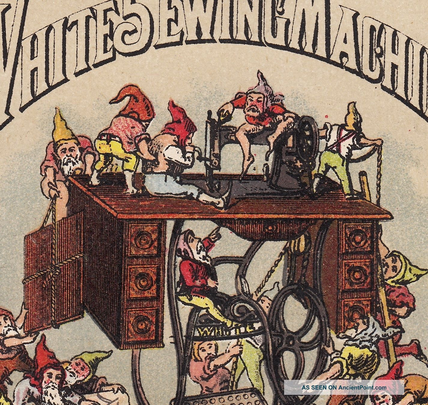 Elves 1800 ' S White Sewing Machine Cleveland Waterbury Vt Gnome Advertising Card Sewing Machines photo