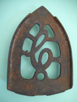 Cast Iron Vintage Sad Iron Trivet Initial C photo
