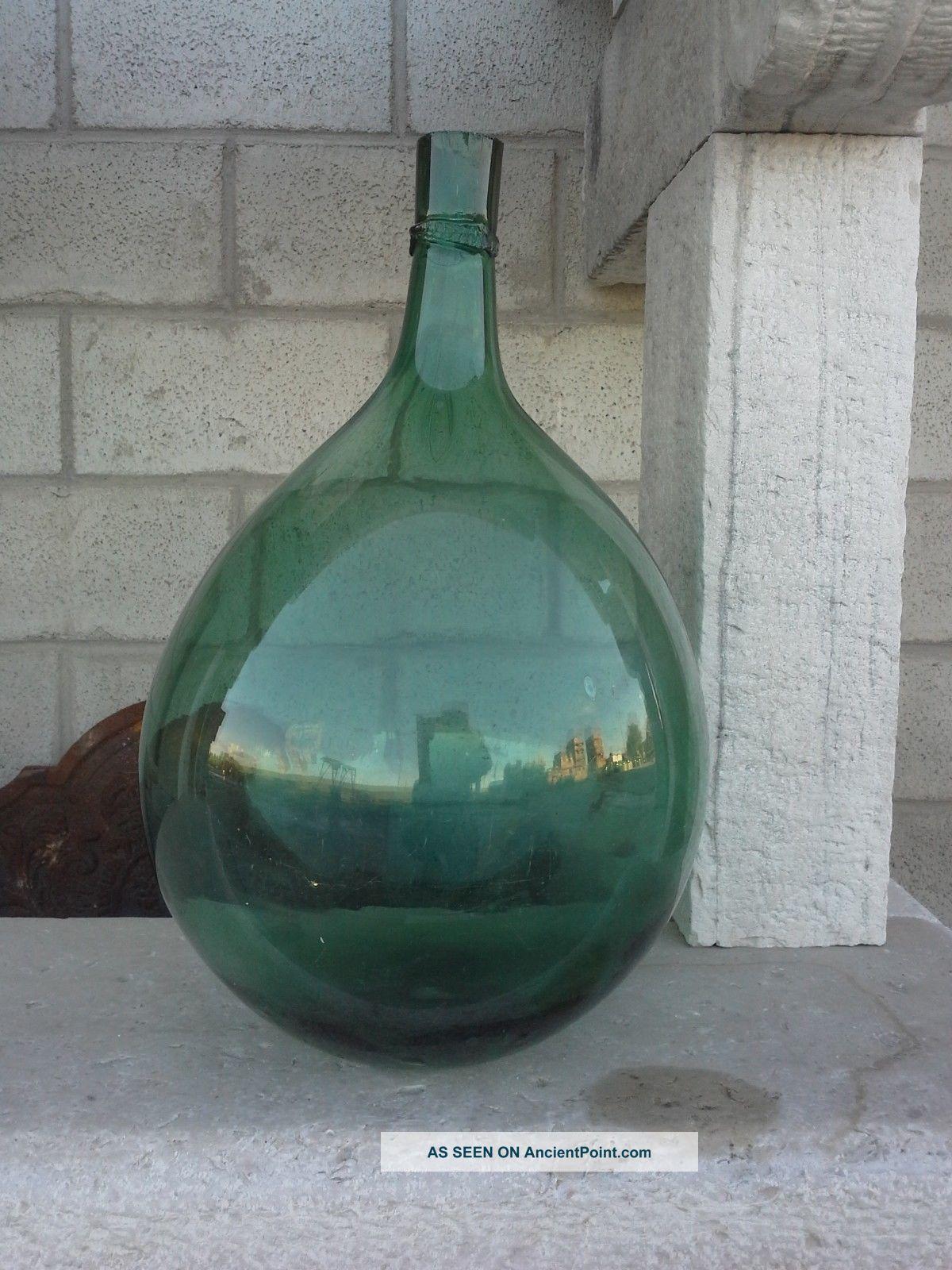 Antique Italian Blown Glass Flagon,  Big Bottle,  Old Bottle,  Antique Demijohn South Italian photo