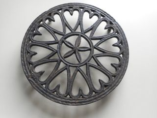 Large Antique Cast Iron Trivet With Hearts Good Collectible Heart Trivet photo
