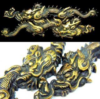 1586 Great Carving Japanese Samurai Antique Edo Period Big Menuki