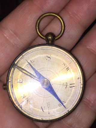 Vintage Or Antique Brass Pendant Or Pocket Compass Made In France photo