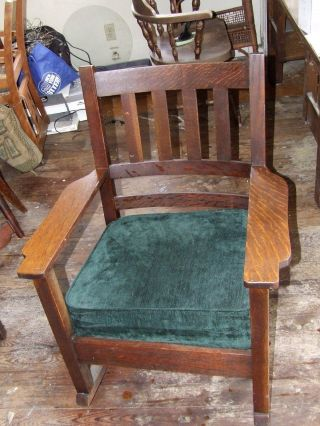 Stickley Brothers Rocking Chair,  Mission Arts And Crafts (1898 - 1902) Lansing Mi. photo