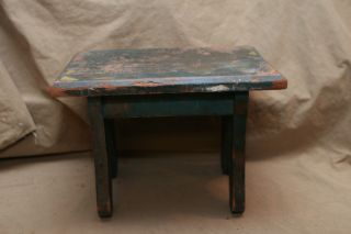 Vintage Antique Boot Jack Stool Depression Era Distressed 3 Layers Paint photo