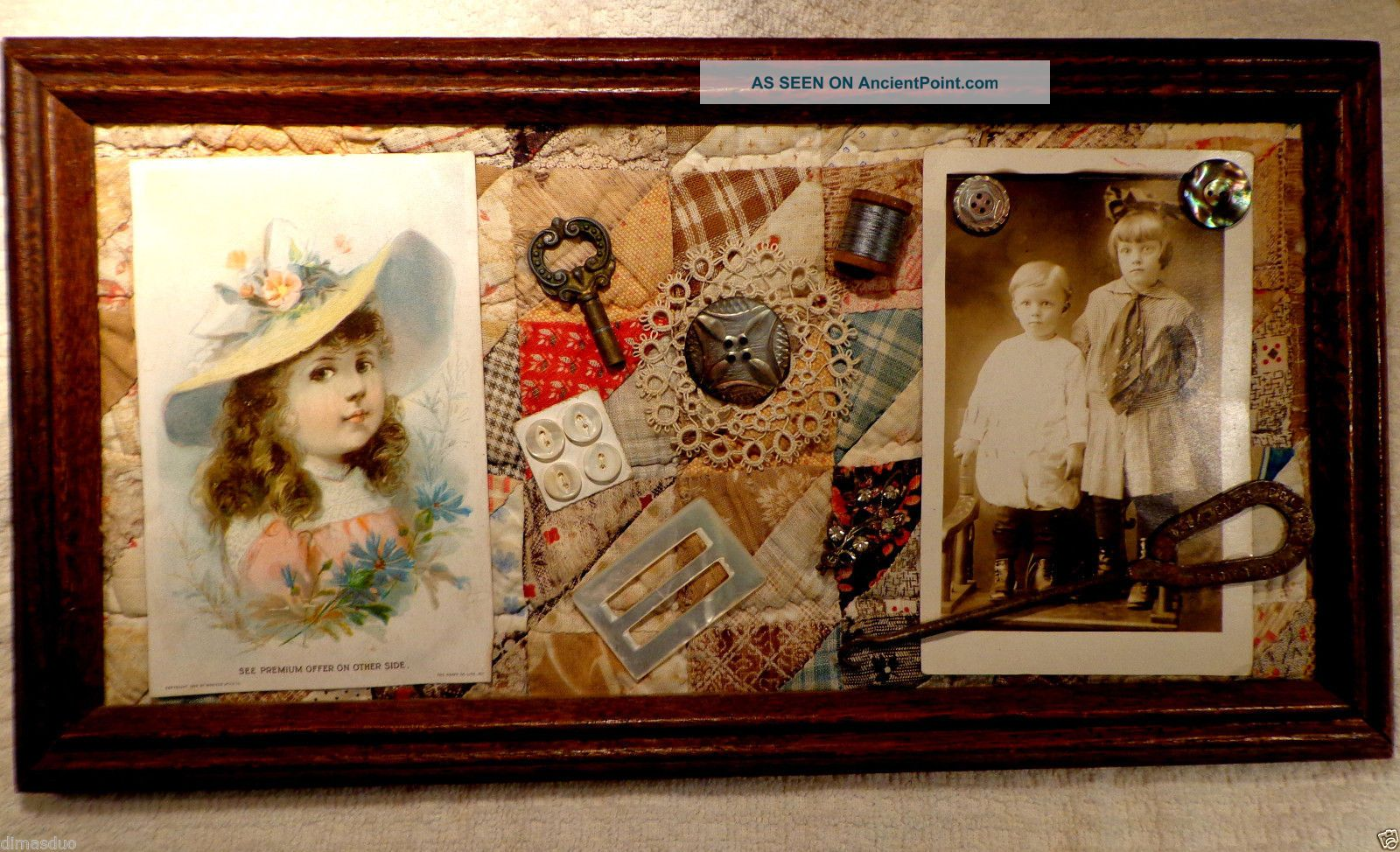 Antique Victorian Sewing Collage Quilt Abalone Button Hook Trade Card Framed Other Antique Sewing photo