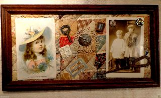 Antique Victorian Sewing Collage Quilt Abalone Button Hook Trade Card Framed photo