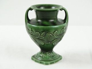 Antique Majolica Green Glazed Victorian Mantle Vase Marks V210 photo