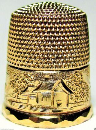 Rare Antique Victorian Simon 10k Yellow Gold Thimble Sunrise,  House,  Sunset Design photo