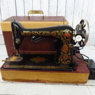 Antique Singer Sewing Machine Model 66 Red Eye 1924 W/ Case Aa069103 Vintage photo