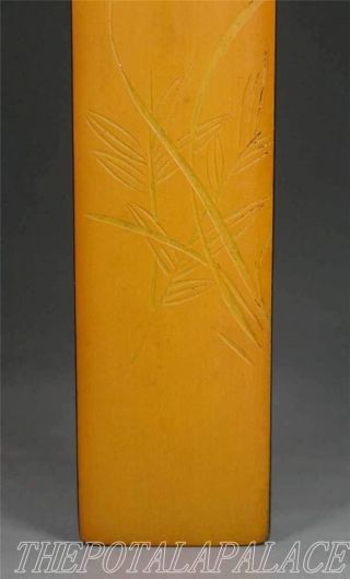A Old Chinese Rosewood & Bamboo Coat Pasted Paperweight Orchid Carved photo