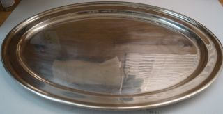 Large Elkington Oval Serving Platter Tray Silver Plated Rare 18.  25