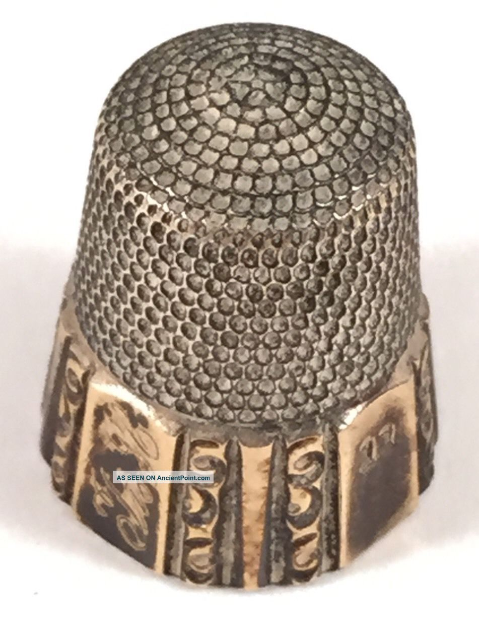 Antique Sterling Thimble With Simmons Bro.  Mark 1842 Size 11 Thimbles photo
