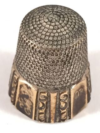 Antique Sterling Thimble With Simmons Bro.  Mark 1842 Size 11 photo